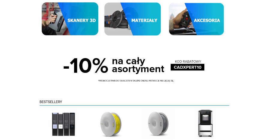 489ce6bd2e7923 Firma CadXpert zapowiada, że asortyment ten ma stale się poszerzać o nowe  urządzenia i materiały, dlatego warto regularnie odwiedzać stronę nowego  sklepu.